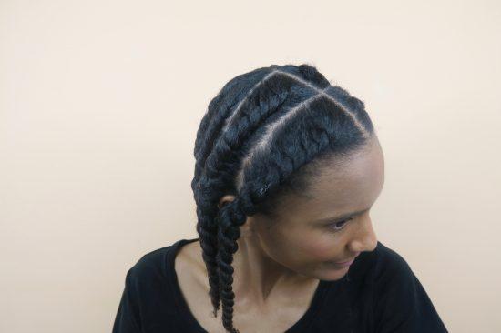vanilles collées boucles définies cheveux crépus